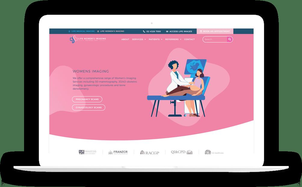 womens radiology website laptop